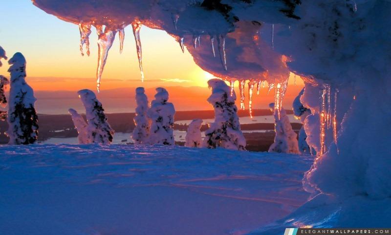 Glaçons au coucher du soleil, Arrière-plans HD à télécharger