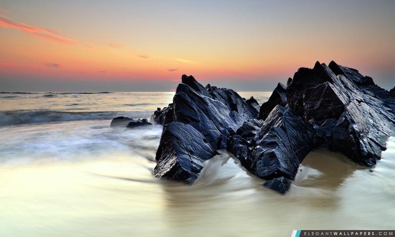 Roches sur le rivage de la mer, Arrière-plans HD à télécharger