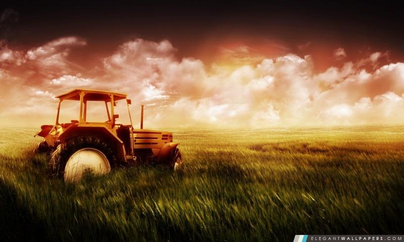 Tracteur Dans Le Champ Fond D Ecran Hd A Telecharger Elegant Wallpapers
