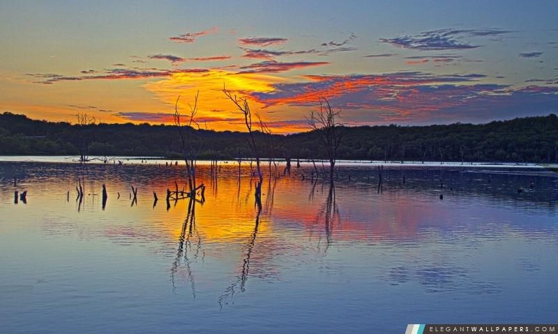 Coucher de soleil, Reflet, Clinton lac, Arrière-plans HD à télécharger