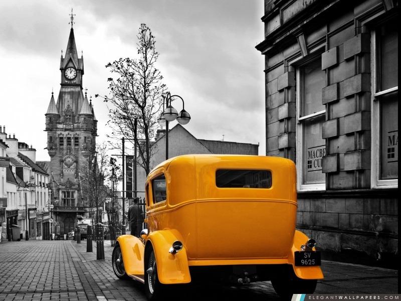Ford Roadster jaune, Arrière-plans HD à télécharger