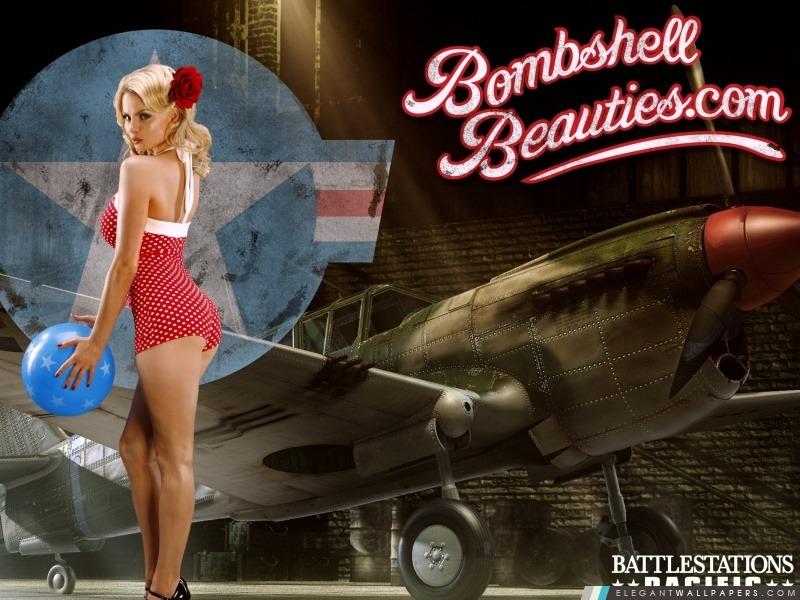 Battlestation Pacifique Bombshell Beauties Pin-up, Arrière-plans HD à télécharger