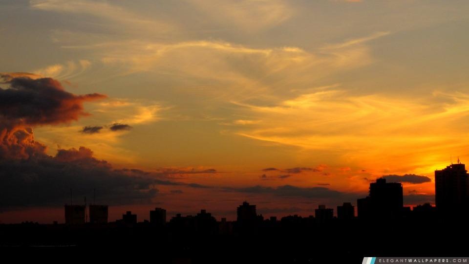 Silhouette De Ville Au Coucher Du Soleil Fond D écran Hd à